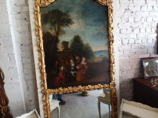trumeau de cheminée avec peinture de scène romantique et bois doré et miroir